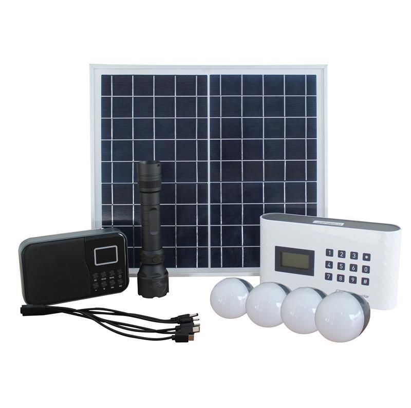 مولد الطاقة الشمسية / نظام الطاقة المحمولة / 15W polycrystalline لوحة للطاقة الشمسية راديو القابلة لإعادة الشحن أدى الشعلة القابلة لإعادة الشحن العاصمة الصمام ضوء لمبة