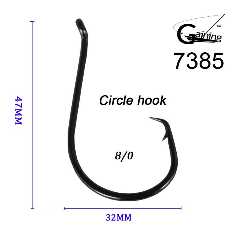 50pcs 8/0 High Carbon Stainless Steel Chemically Sharpened Octopus Circle Ocean Fishing Hooks 7385 Ocean Fish Hook