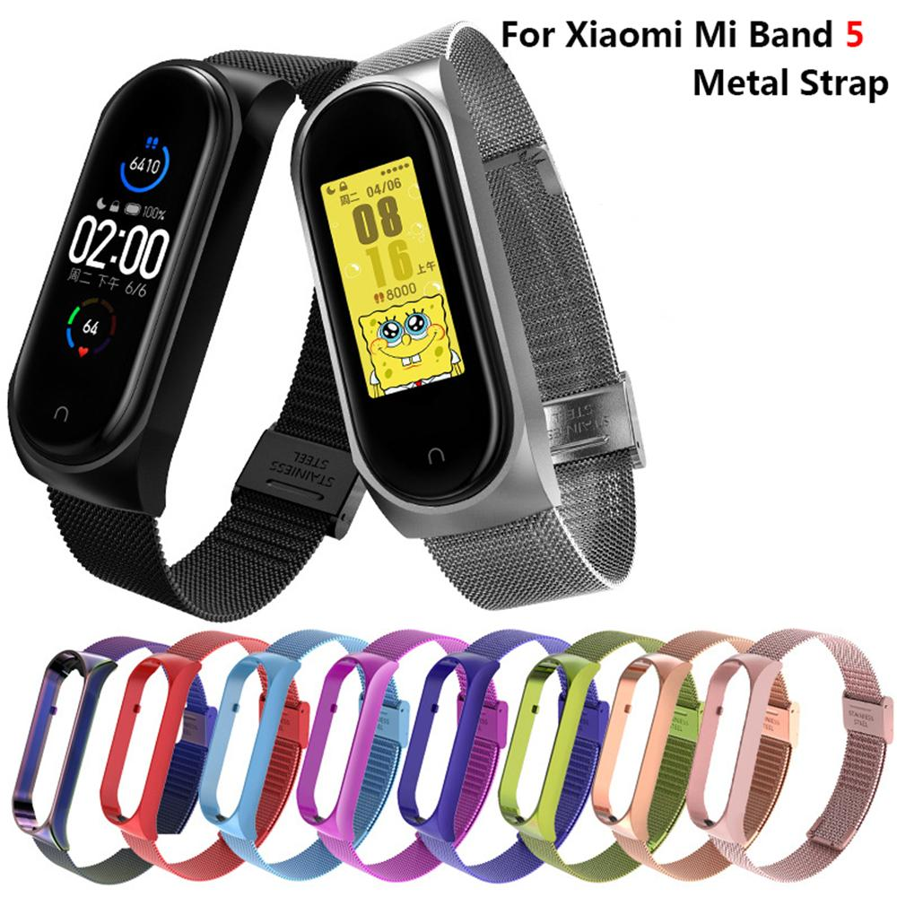 For Mi Band 5 Metal Strap Stainless Steel Anti-lost Zinc Alloy Metal Strap For Xiaomi mi band 5 Bracelet Milanese Band