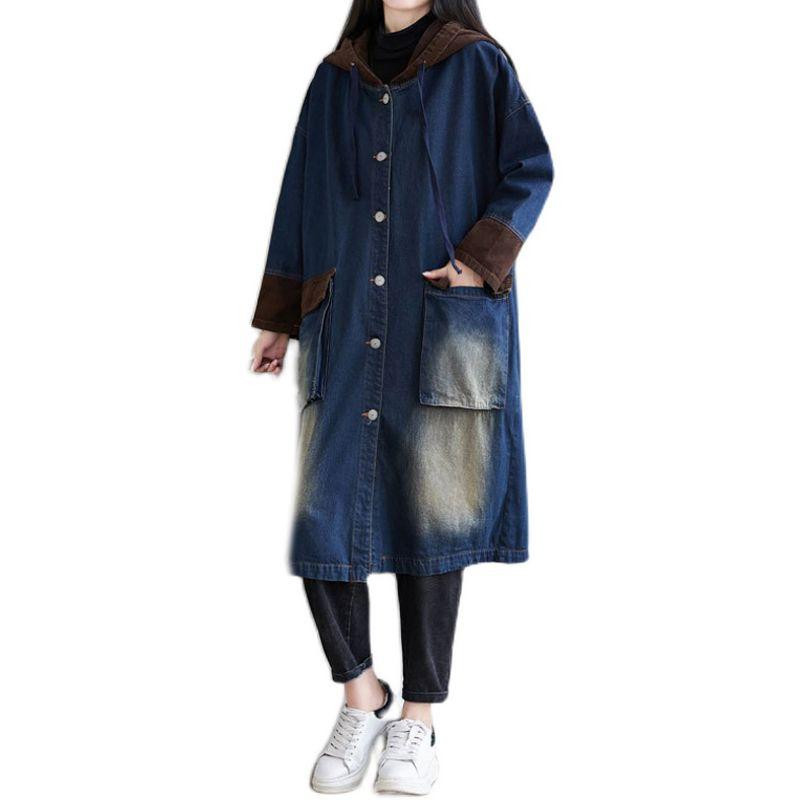 Mujeres blanqueadas de la chaqueta de mezclilla Outwear Big Flood Long Overseized con capucha Retro Vintage Casual Nuevo para la primavera A12081111 Z1211