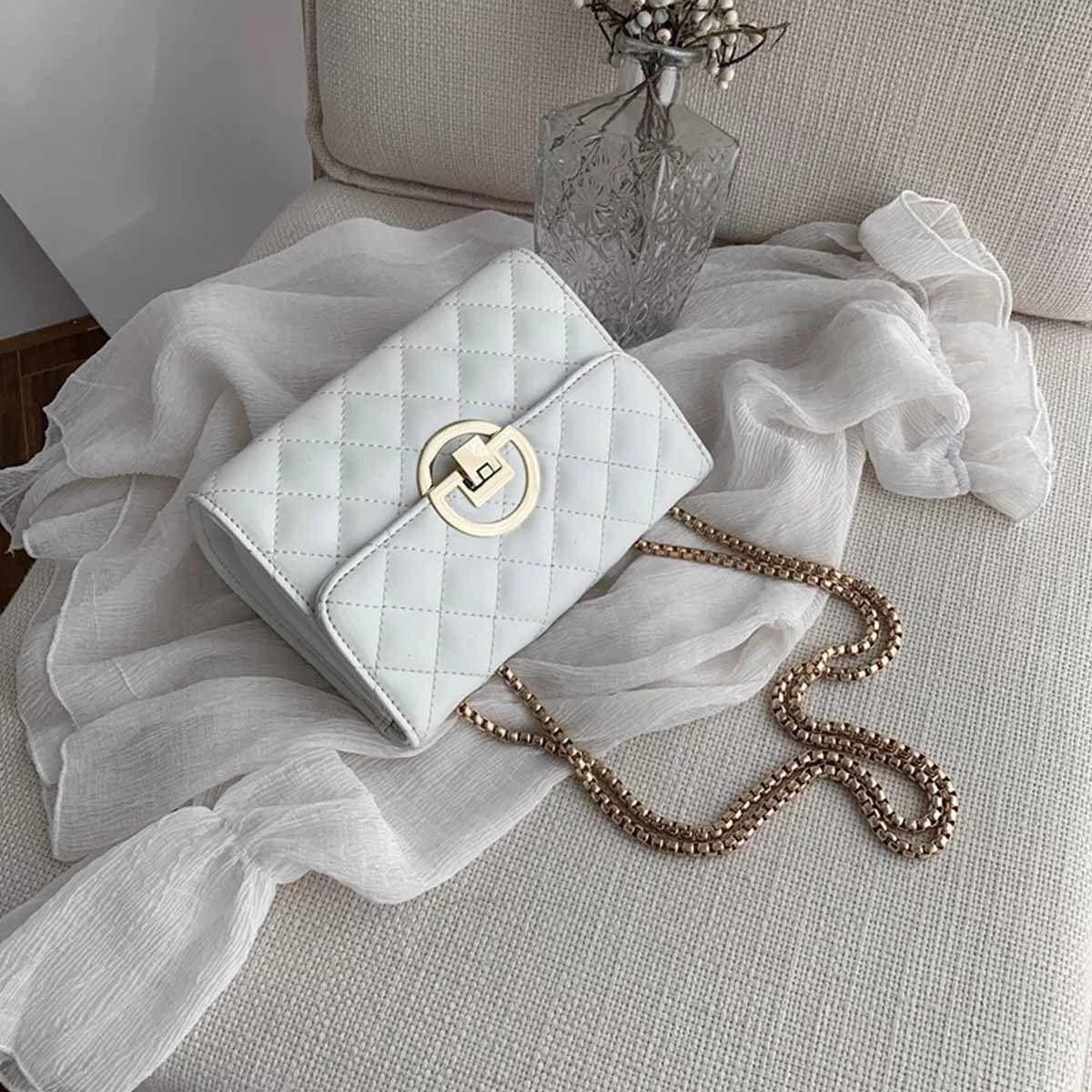 Bolsa en relieve Claza de Clamshell Caja de moda diagonal tridimensional para mujer Golden Classic Lock Bolso Moda con tcjuk qgbif