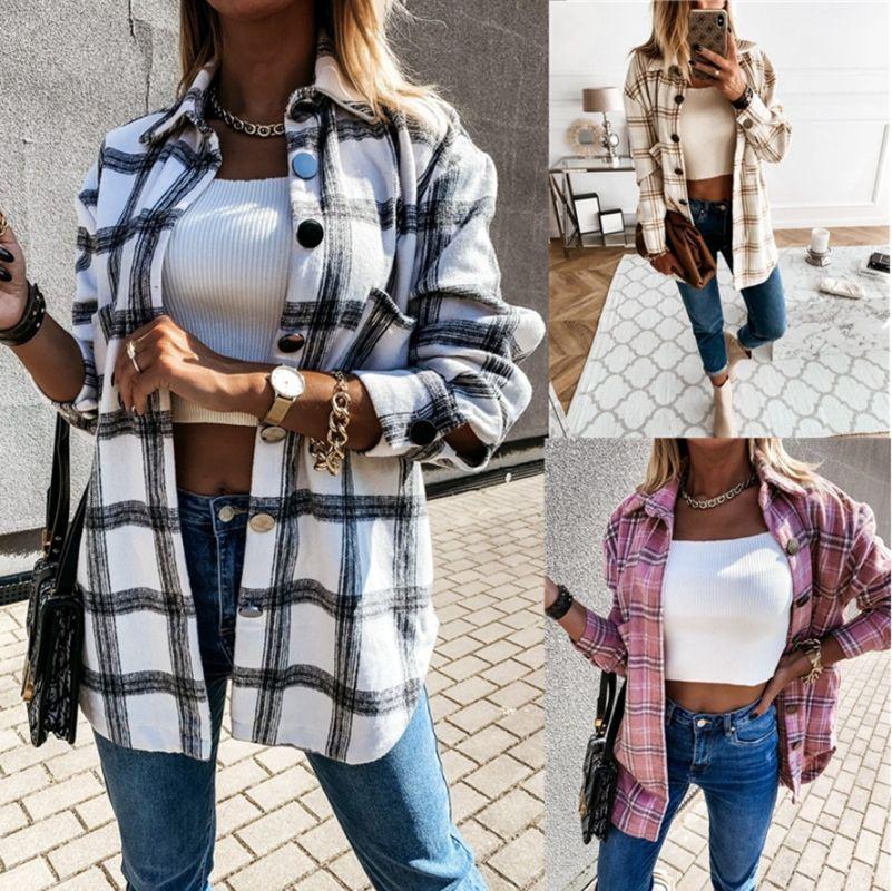 Women Long Sleeve Plaid Jacket Autumn Winter Oversized Coat 2021 Fashion Loose Outwear Vintage Elegant Top Streetwear Ropa Mujer
