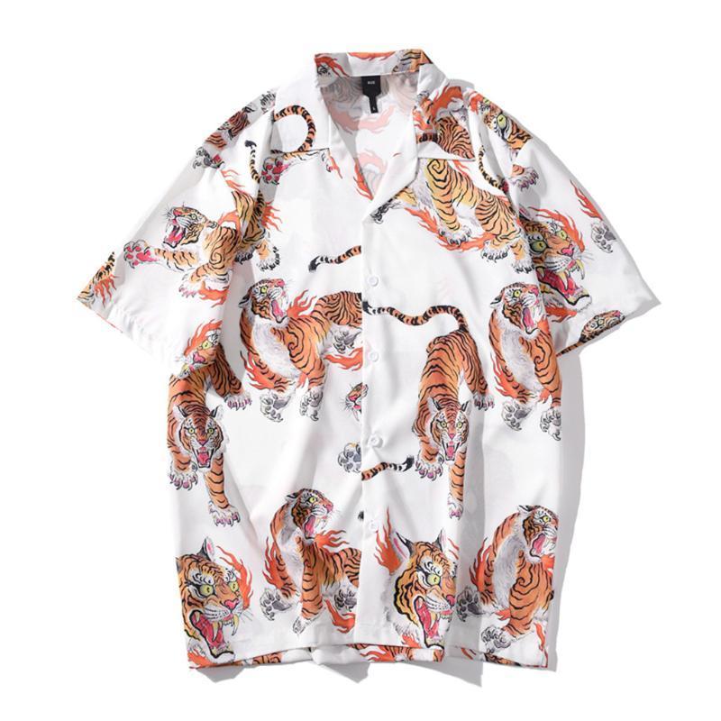 Camicie casual da uomo Camicia uomo estate uomo Mens Etnico Stampato in cotone Biancheria in cotone Stripe a maniche corte allentata Hawaiian Henley # 3
