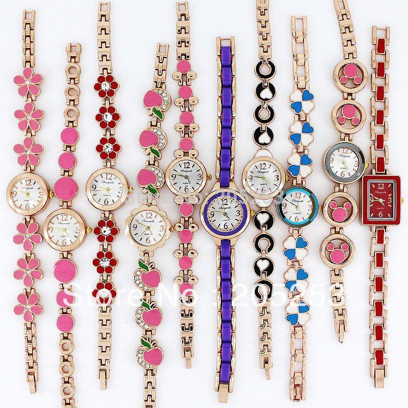 10 pcs por atacado lote de rosa colorida dourada senhora mulheres relógios de quartzo movimento relógio relógio relógio presente jb5t pulseira relógios j1205