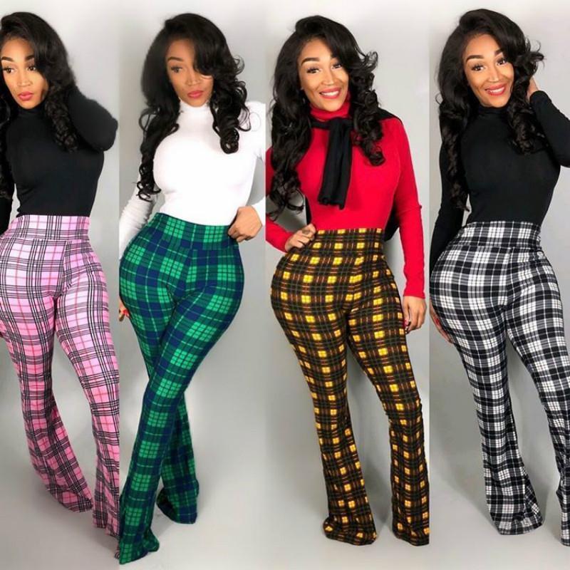 Vintage sexy xadrez flare calças mulheres caem calças de inverno mulheres inverno inverno cintura alta perna larga pantelante calça D46-CC29