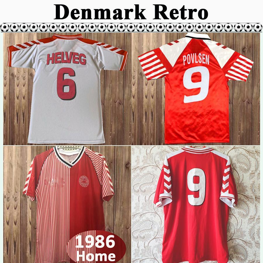 1986 1998 Danemark Rétro Mens Soccer Jerseys 1992 M. Laudrup Helveg Jørgensen B. Laudrup Accueil Rouge Élevé Blanc Football Shirt Uniformes