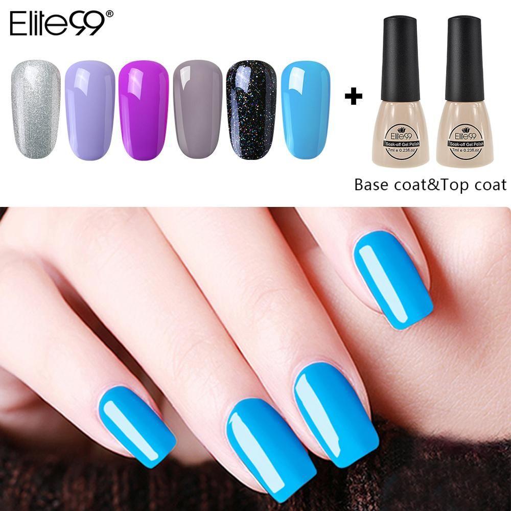Elite99 8pcs Nails Polish Polish Soakoff Manicure Tool Полупостоянный УФ-светодиодный эмаль для ногтей для лака-ладового комплекта с основанием и верхним слоем