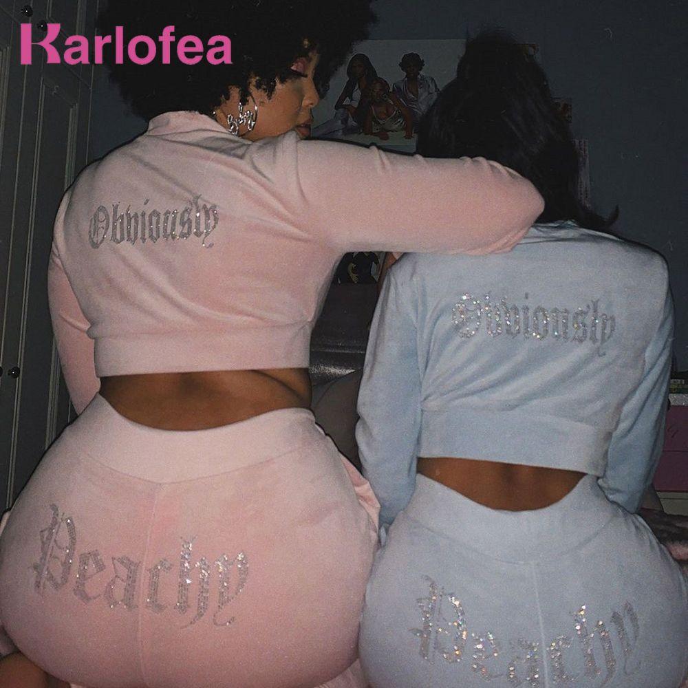 Karlofea mulheres casuais tracksuit novo outono inverno veludo 2 peças conjuntos colheita calças de colheita Diamonds Basic street wear 201199