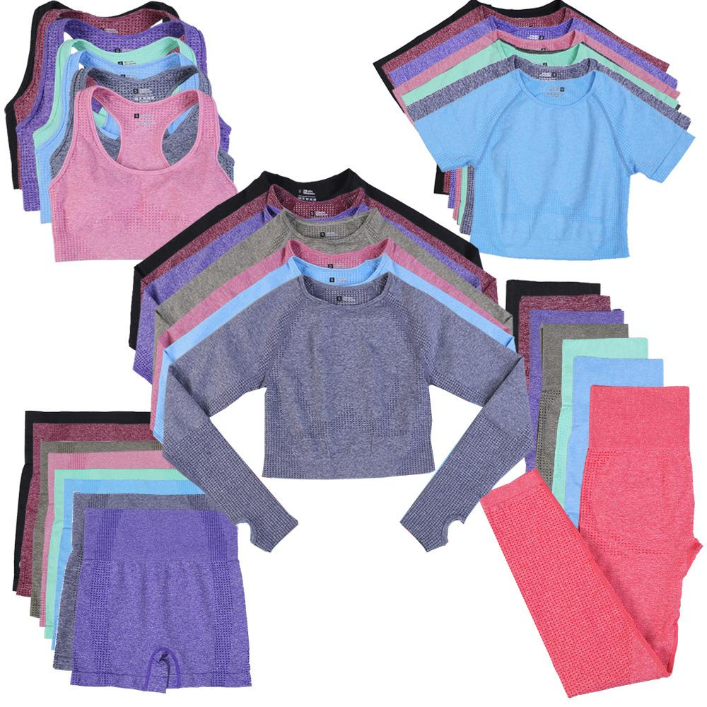 10 colori 5pcs Seamless Yoga Set Set Allenamento Abbigliamento Abbigliamento Abbigliamento fitness Abiti da fitness Leggings a vita alta Pantaloncini traspiranti