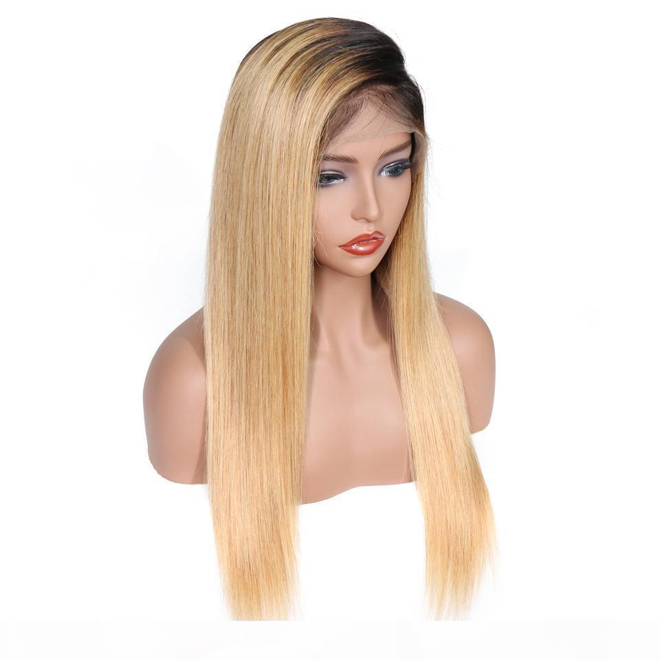 Бесплатная доставка 100% необработанные сырые девственницы Remy человеческие волосы длинные 1бл27 оммре цвет красоты шелковистая прямая полная кружевная крышка парик для женщин