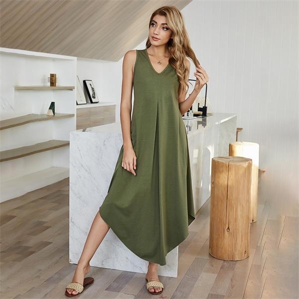 Alto 2021 Primavera Nueva Cintura de mujer Vestido sin mangas de chaleco de color irregular