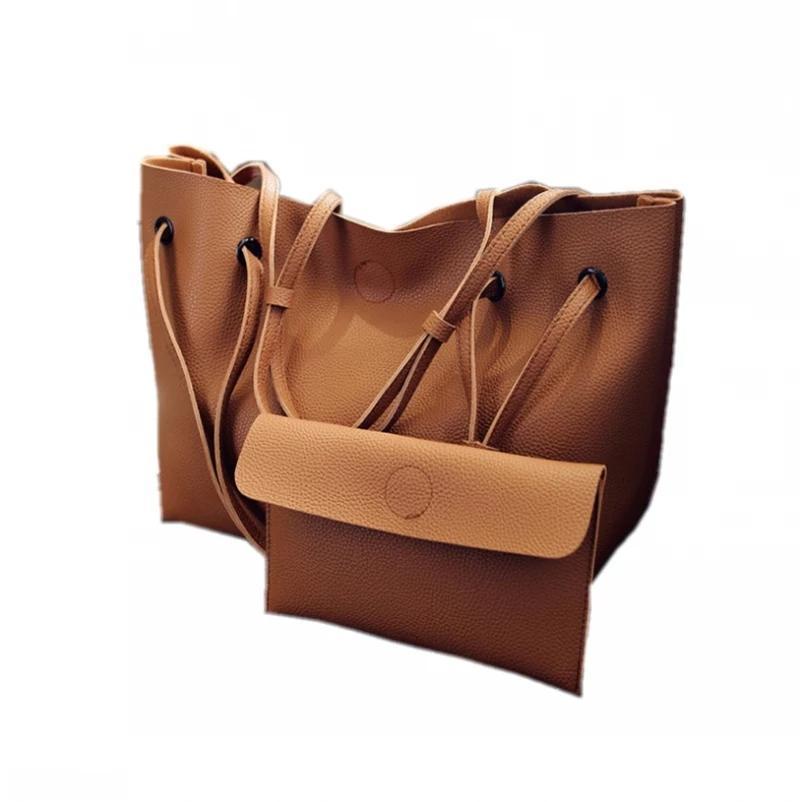Fashion Handbag Plain Big Lady New 2 Set Of Clutch Women Black Shopping Bag Tote Grey Brown Pink Cbwls