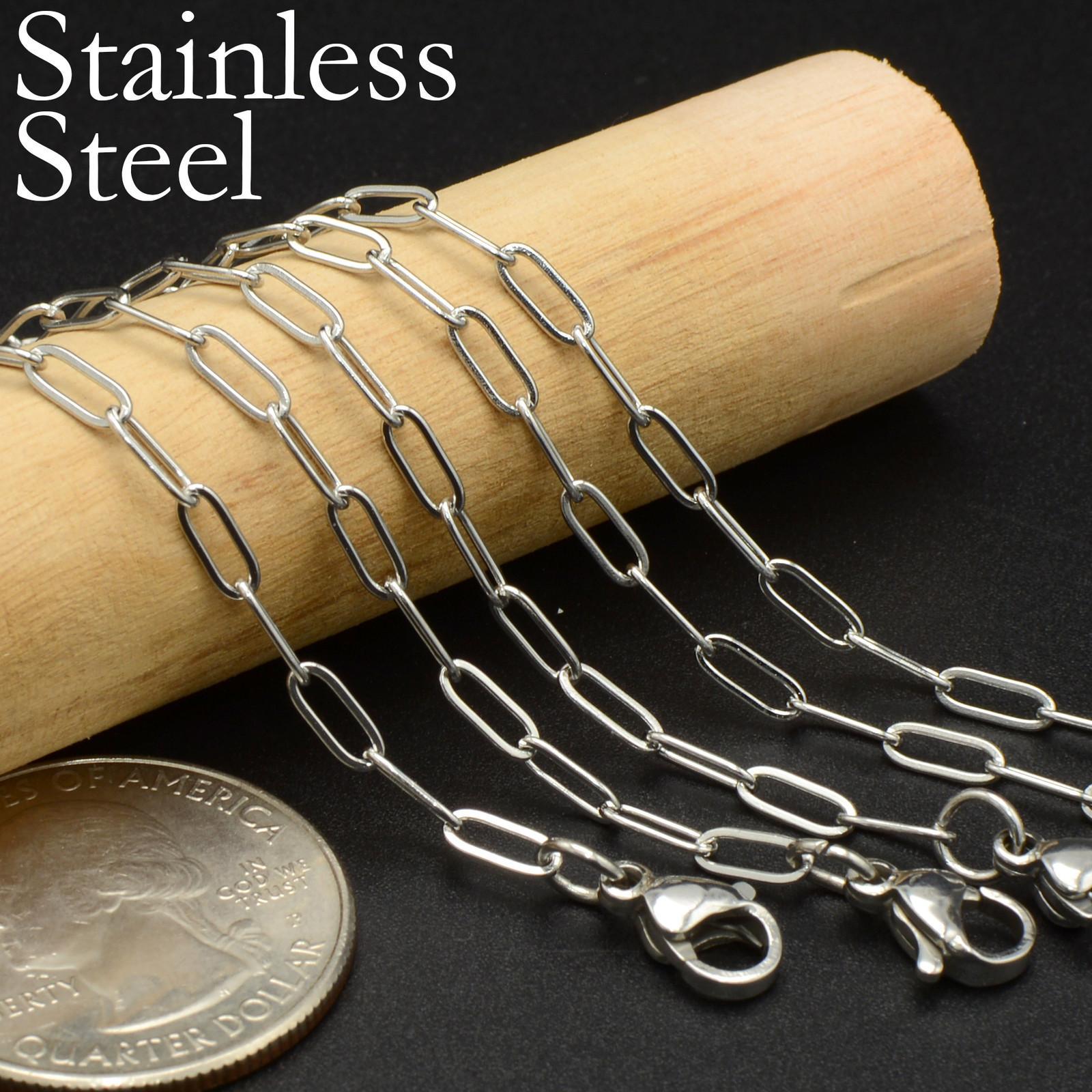 20 PCS- Collana a catena rettangolare catena in acciaio inox, catena di graffetta catena lunga cavo collana, collana in acciaio inox per donne Y0124