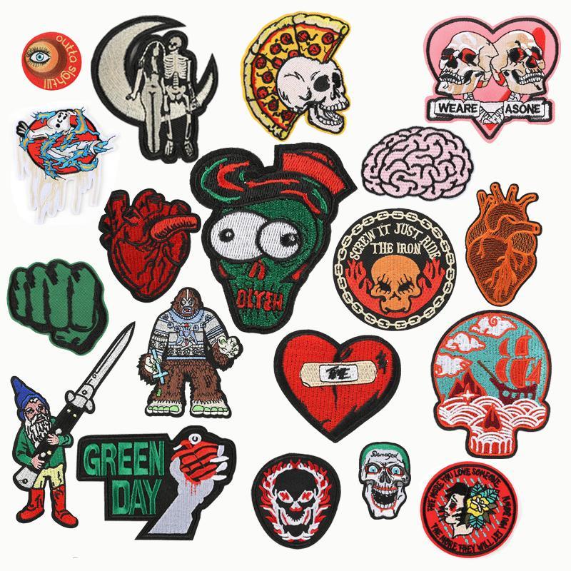 Parches de bordado parche de bricolaje en la ropa de hierro en parches para ropa Bordado Punk Pisch Insignia Accesorios