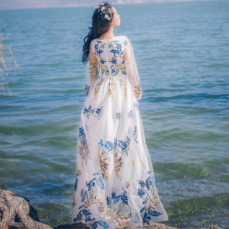새로운 고품질 폭발 레저 우아한 레이스 자수 드레스 여성 봄 여름 캐주얼 셔츠 드레스