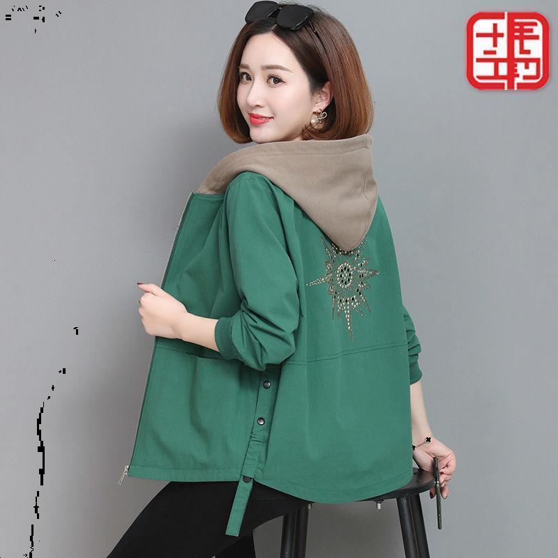 Double coupe-vent 2020 Nouvelle version Mode Lâche Manteau Court manteau Printemps de femmes et d'automne Jacket de la mère d'automne