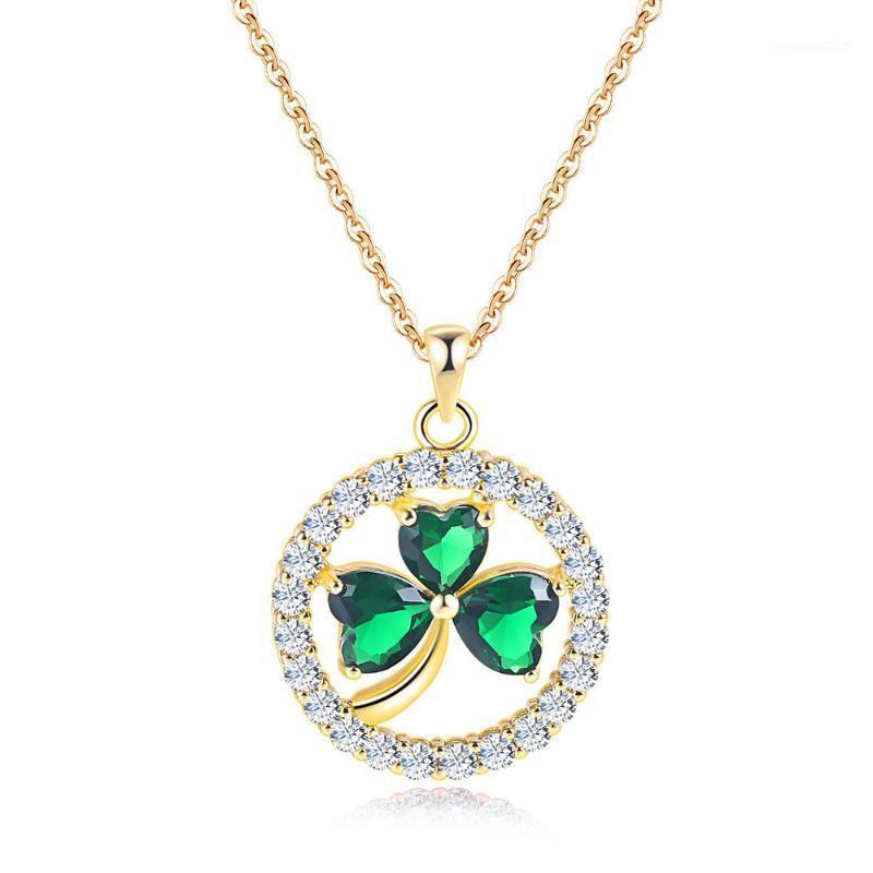 Colliers de pendentif style de trèfle à cristal rond pour femmes rose jaune or couleur + zircone cubique bijoux de mode cadeau de Noël N0191