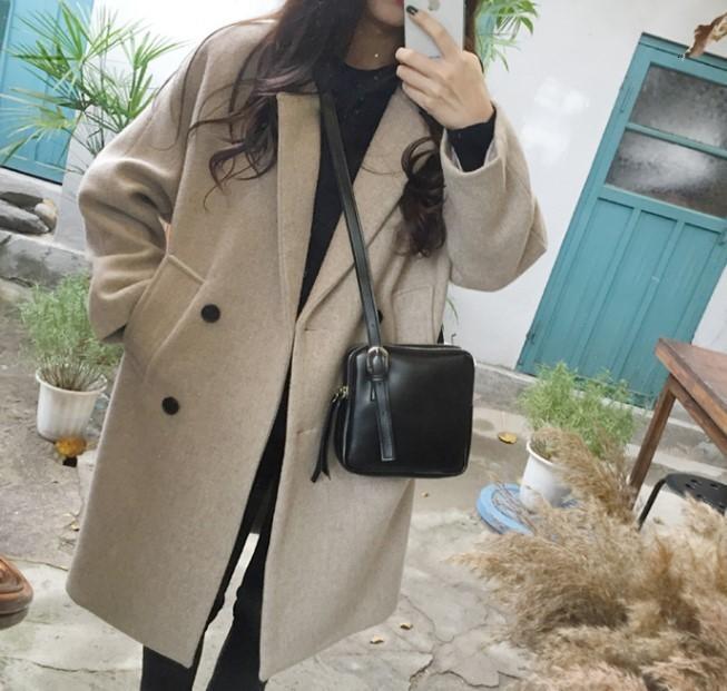 İnce orta uzunlukta yeni ürün, yün ve ceket öğrenci ile sonbahar kış 2019 Kore versiyonu