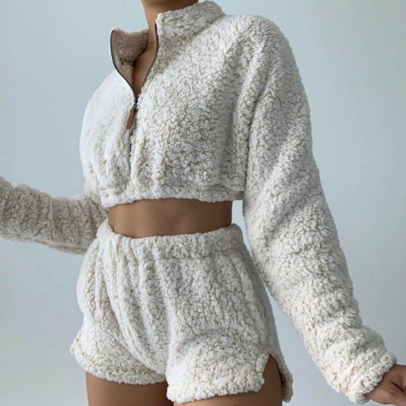 2020 Winter Women Fleece Two Piece Set Long Sleeve Crop Top + Shorts Sets Zipper Warm Lounge Wear Outfits Chandal Mujer