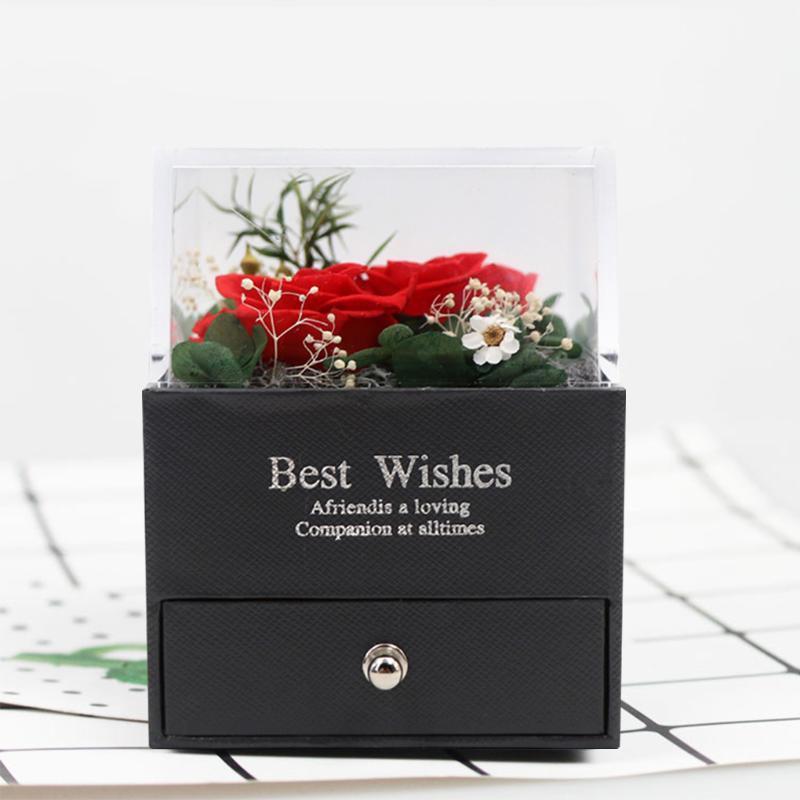 Novo design moda senhoras eternas cor-de-rosa caixa de jóias desfiguradas borda de flor rosa caixa de anel de rosa jóias romântico dia dos namorados presente
