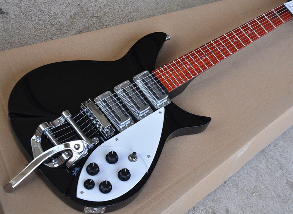 Guitarra elétrica preto direto da fábrica fábrica com pequeno tremolo, comprimento de escala 527mm, fingerboard de Rosewood