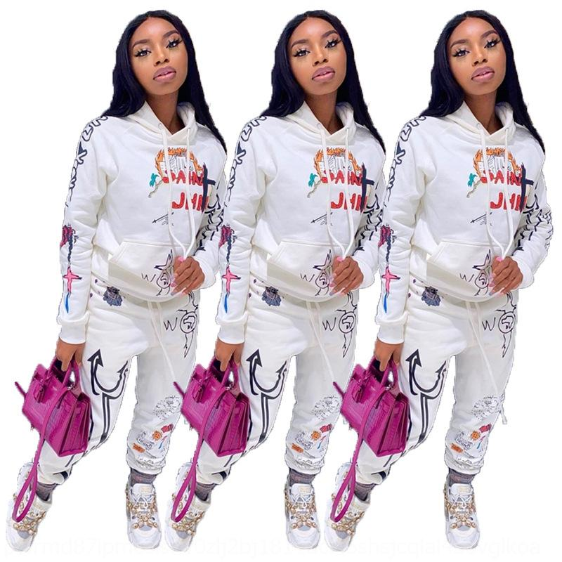 HRay Autumn 2 Winter Piece Set Women Pullover Pants Hoodie Tracksuits Printed Sweatshirt Trousers With Pockets Suits