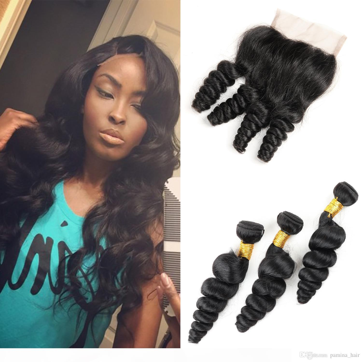 8A Brazilian Virgin Hair with closure Extensions 4 Bundles Brazilian Loose Wave With 4x4 Lace Closure Unprocessed Remy Human Hair Weave