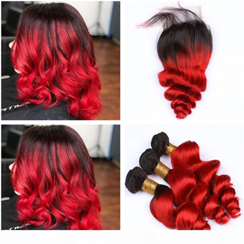 Black to Red Ombre Loose Wave Human Hair Weaves with Closure 3Bundles #1B Red Ombre Loose Wavy Malaysian Human Hair Wefts with Closure