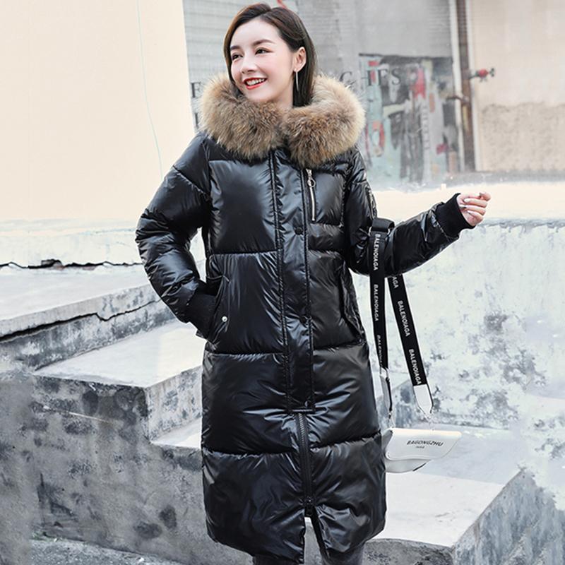 2020 женские зимние куртки плюс размер блестящий длинный пальто женщина с капюшоном с меховым воротником Корейский стиль толстые пальто дам