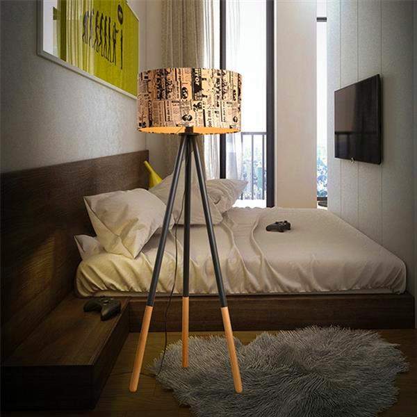 Creative Warm Personality Round Wood Vertical Tripod Floor Lamp with Light Source US Plug high quality Floor Lamps