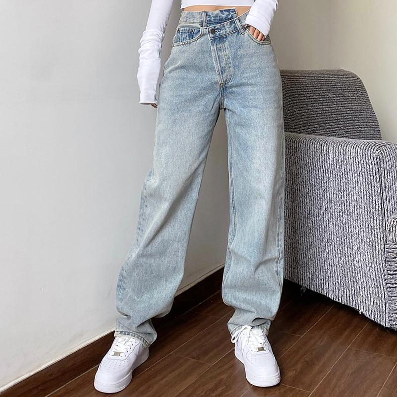 Mamá Jeans Jeans Mujeres Baggay High Cintura Pantalones rectos Mujeres 2020 Blanco Moda Negro Casual Pantalones no definidos A1112