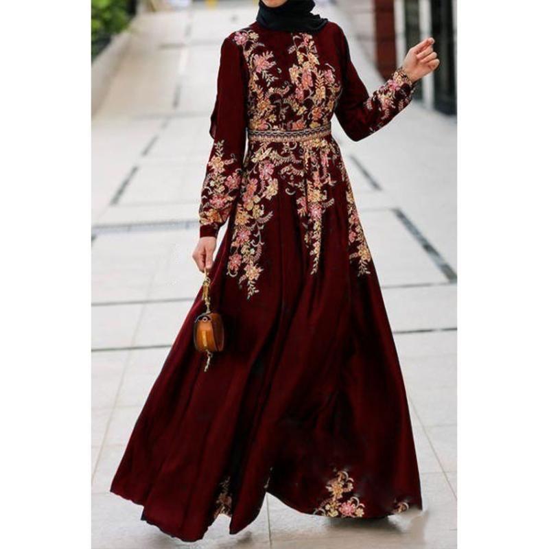 Muslim Fashion Dress Women Abaya Dubai Turkey Floral Print Arabic Hijab Islamic Ramadan Robe Vestidos Kaftan Caftan Long Sleeve