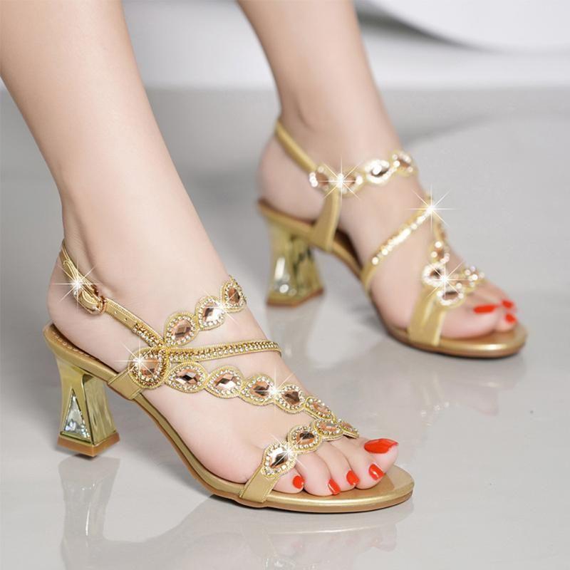 Sandalias Zapatos de mujer de tacón altos para la moda para pedrería