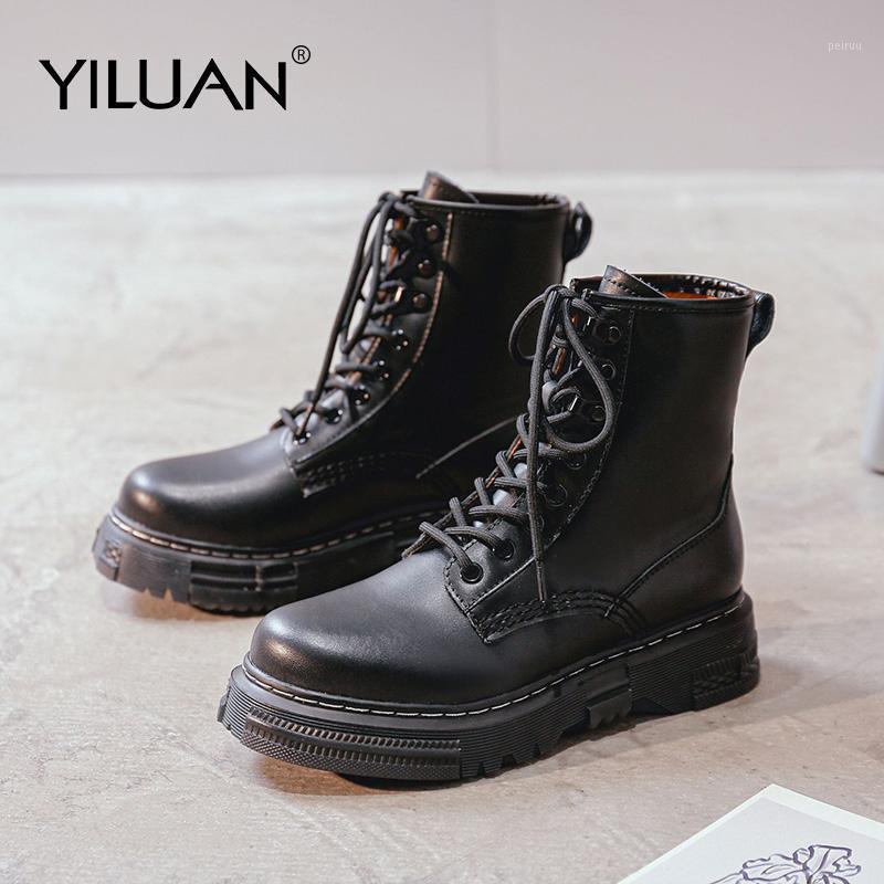 Yiluan automne hiver femmes bottes grand taille 35-40 bottes de style vintage chaussures de femme occasionnel mode décontracté à lacets haute taille chaleureuse