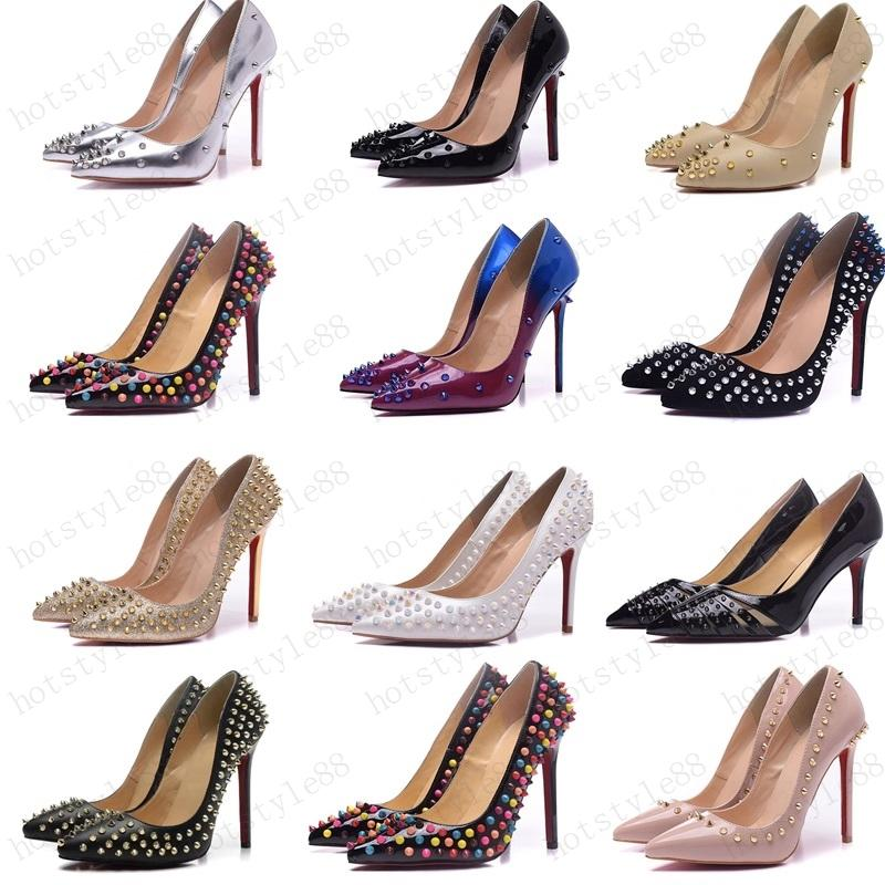2020 Sapatos Vermelho Sloime Mulheres Bombas de Salto Alto Sapatos Rebite Rebite Pontilhada Toe Fine Senhora Senhora Sapatos de Casamento inferior para o vermelho 8cm 10cm 12cm 35-44