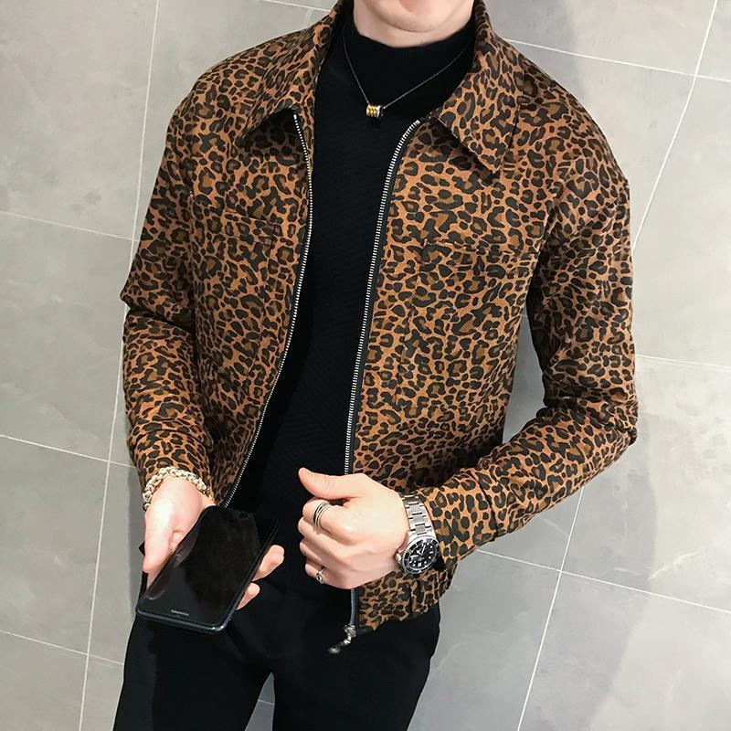 2020 Осень Новые Мужчины Леопардовый Куртка и Пальто Мода Дизайнер Мужская Кожаная Куртка Молния Пилот Мужская Клубная Одежда