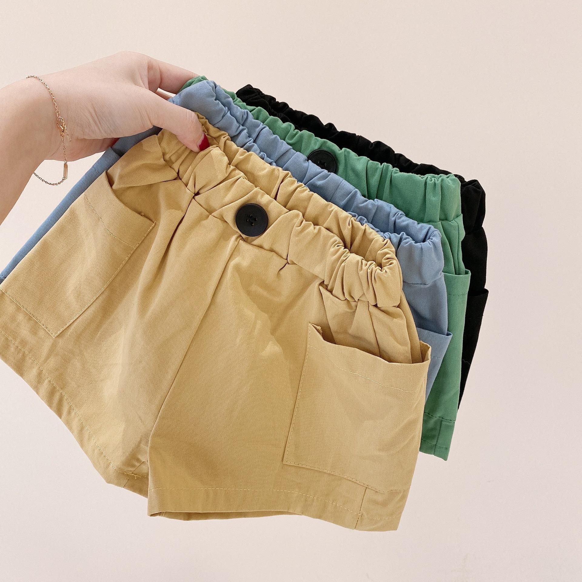 Kinder Shorts 2021 Kinderkleidung Sommer Neue Produkte für kleine und mittlere Kinder Solid Color All Match Casual Shorts Side Larg
