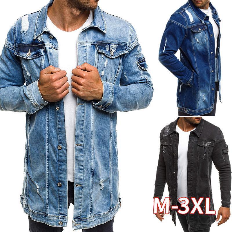 Men's Jackets Men Spring Jean Jacket Cowboy Coat High Quality Autumn Style Beggar Hole Denim Loose Thin Sleeve XXXL
