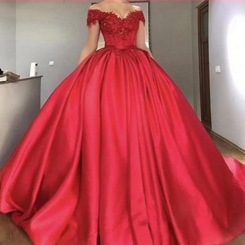 Kapalı Omuz Kırmızı Balo Gelinlik Modelleri 2021 Dantel Aplikler Boncuklu Saten Korse Lace Up Abiye Özel Artı Boyutu Elbiseler