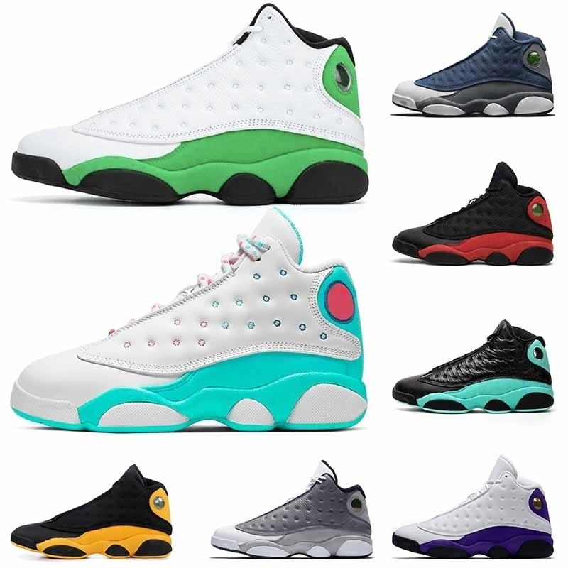 Sıcak Moda Retro Yeşil Pembe Ada Yeşil Bayan Eğitmenler Spor ayakkabılar boyutu 13 mens süzülmek 13 Erkek Basketbol Ayakkabı 13s jumpman 13 Flint Bred