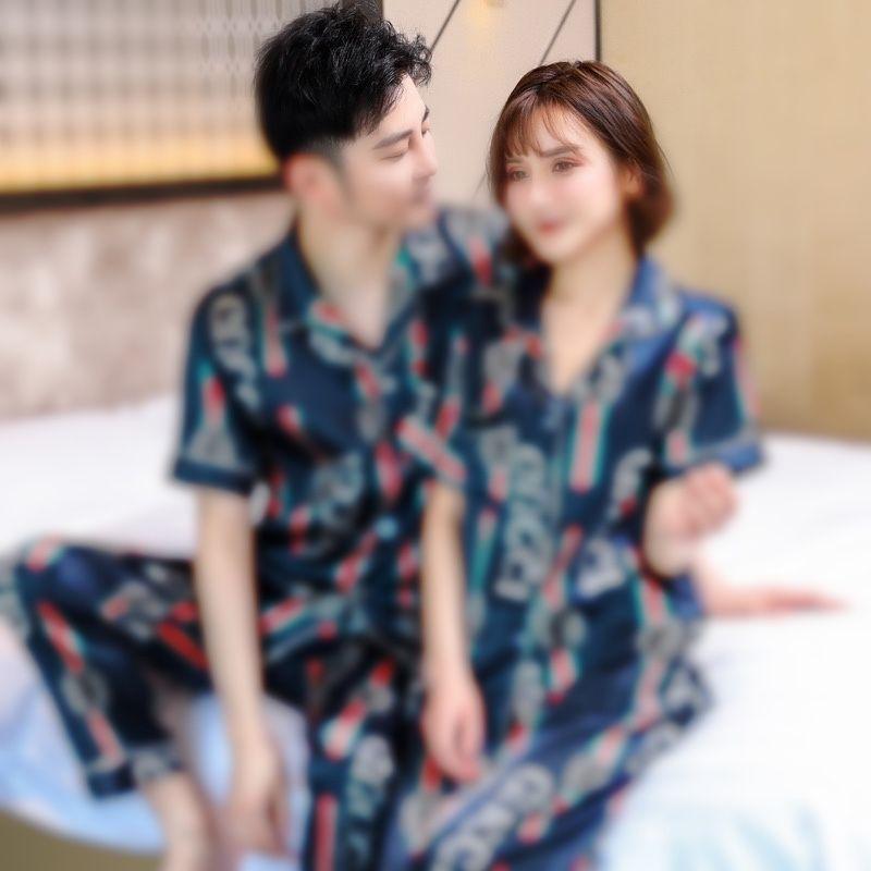 Tie tinte impresión pijamas conjuntos mujeres casual manga corta o cuello camiseta camiseta con cordón pantalones dormir traje de dormir ropa de noche femenina # 97611111