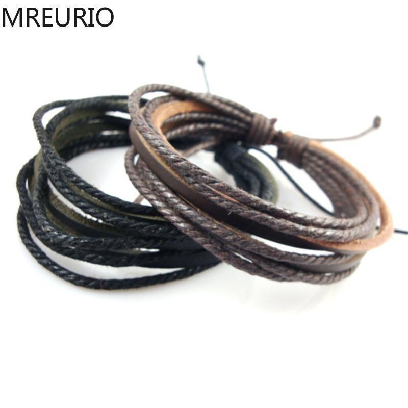 MREURIO Плетеной натуральной кожи браслет Простого Vintage Rope Chain Wrap Пара браслет для женщин Lovers Шарма ювелирных изделий