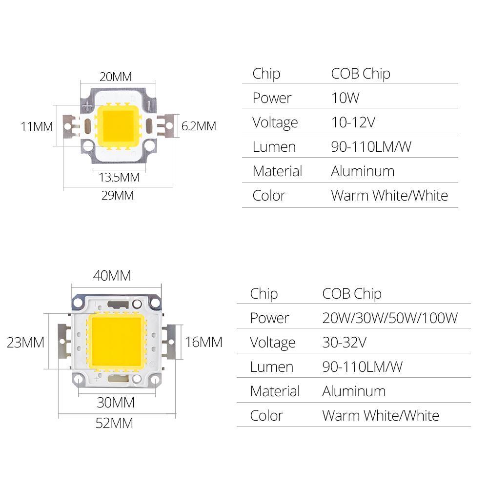 10W 20W 30W 50W 100 W LED Beads Light DC12V-36V Matrix Cob Integrada Lâmpada Lâmpada Lâmpada SMD para DIY Floodlight Spotlight Bulbo