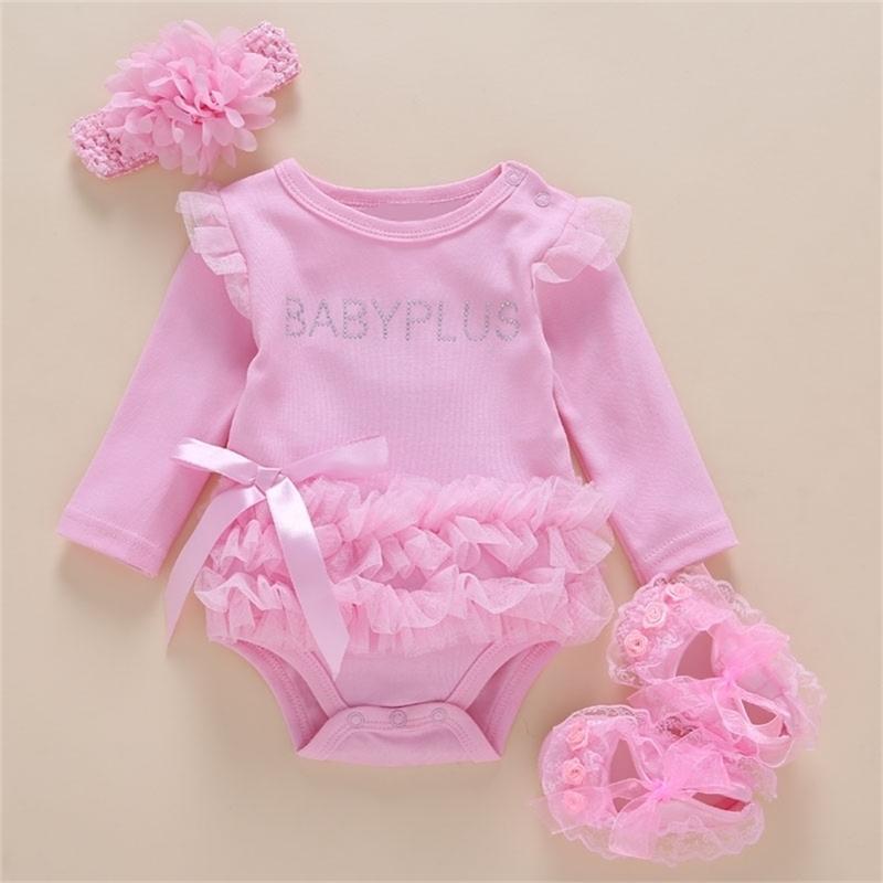 Vestido recién nacido caliente Body de verano 0-2 años Algodón Niño chica con manga larga Body Body Sumpsuit 201216