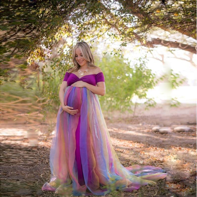 Платья для беременных Радужные сетки платье длинные беременности PO стрельба беременных женщин Maxi платье Poown Pogrape реквизит детское душевая одежда