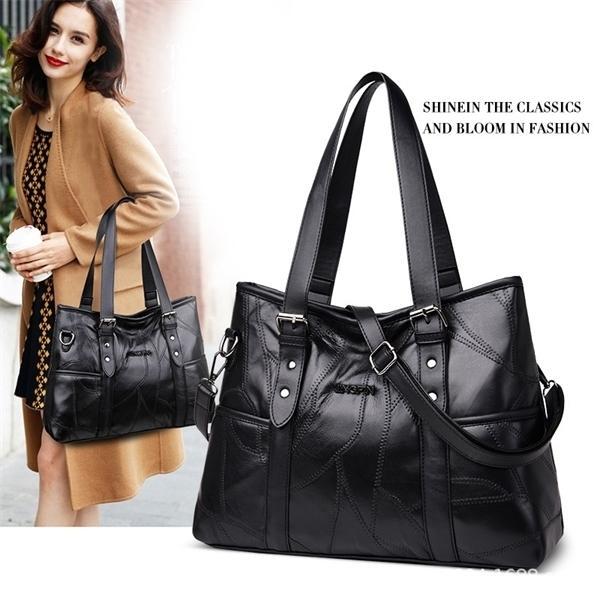 Tote мешок подлинной овчиной пэчворк повседневная рука большая емкость на плечо женские по магазинам кроджом сумки для женщин Q1118