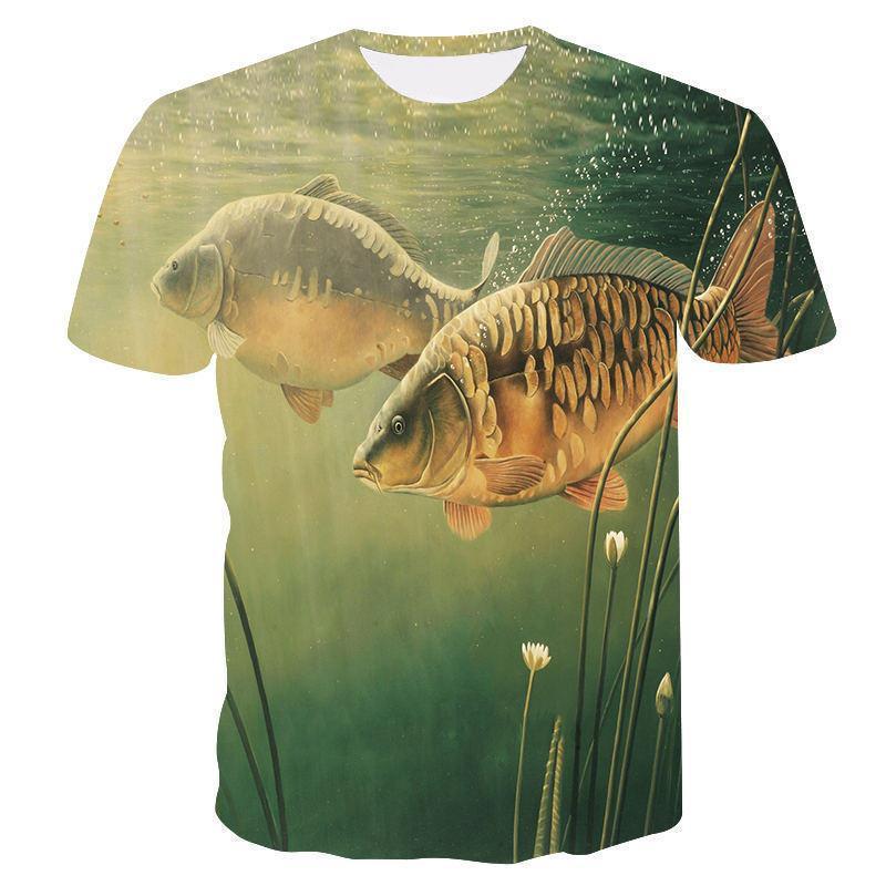 2019 Hot New Lazer 3D Impressão T Camisa, Peixe Engraçado Impresso Homens E Mulheres Camisetas Hip Hop T-shirt Harajuku Imprimir Top Q1126