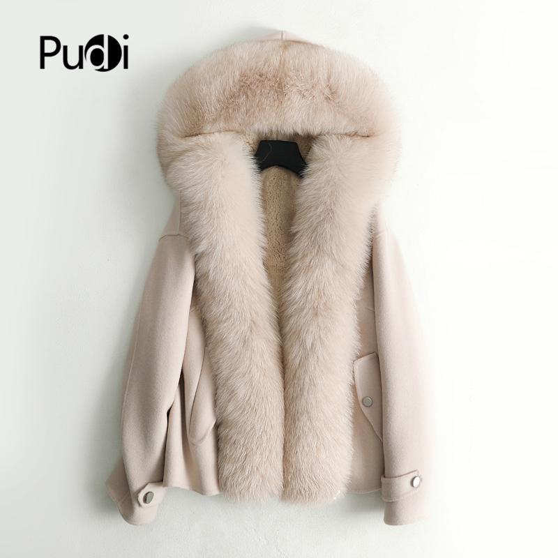 Pudi женщин падение зима новая шерсть лисица воротник куртка с кроликом мех внутри длинного стиля карманный досуг пальто ZY126 201031