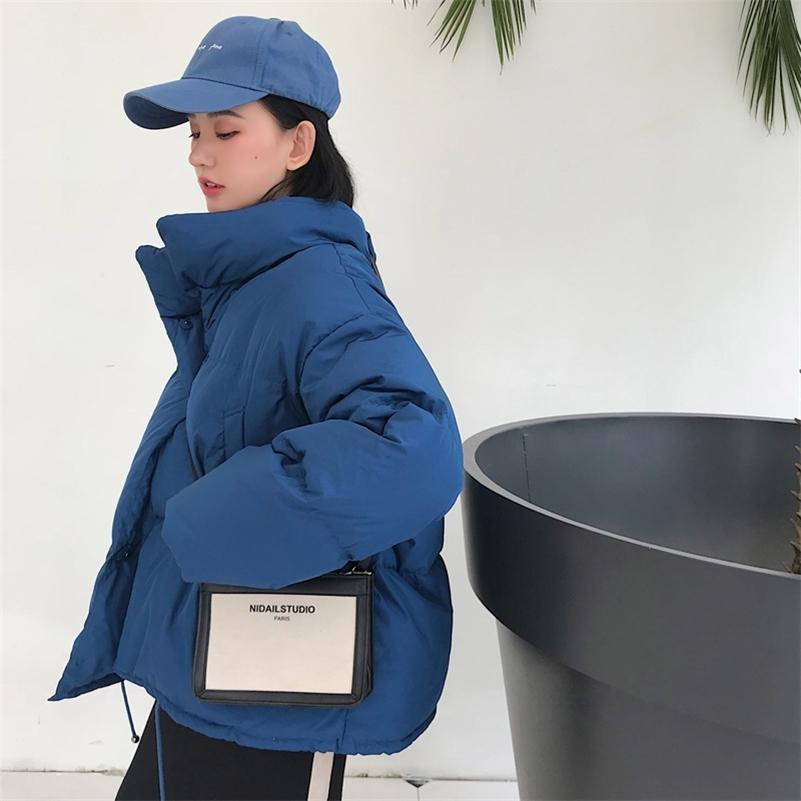 Winter fashion women parkas down cotton padded jacket warm thick loose oversize soild wadded jackets female casual bread coats 201211