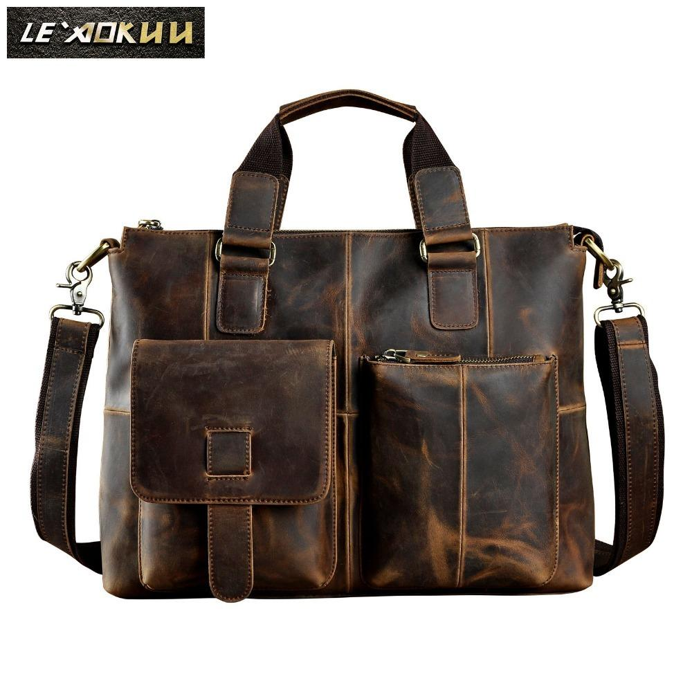 "HBP Men Original Leather Design Antique Retro Travel Business Briefcase 15"" Laptop Case Portfolio Shoulder Messenger Bag B260-d Q0112"